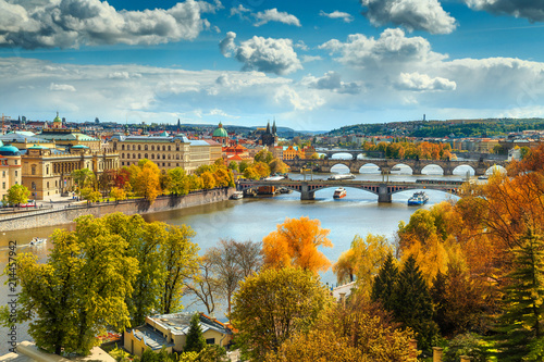 Fantastic autumn panorama with famous Prague city, Czech Republic, Europe