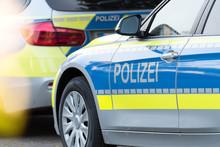 Ein Polizeiwagen Auf Der Straße