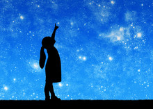 Silhouette, Little Baby Girl Looking At Starry Sky And Showing Thumb Up