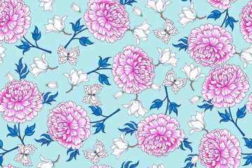 Panel Szklany Peonie Seamless pattern with flowers in Chinese style