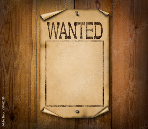 Blank western wanted poster illustration on wooden background Wallpaper Mural