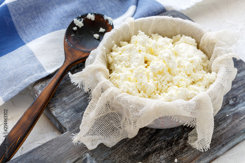 Fresh homemade cottage cheese. Canvas Print