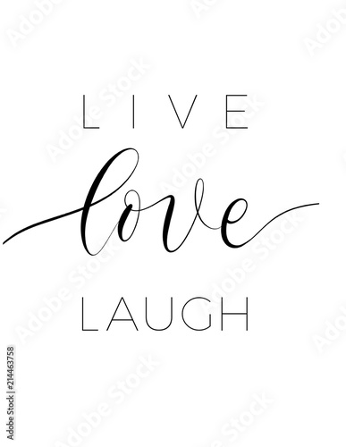 Live love laugh - minimalistic lettering poster vector. Wallpaper Mural