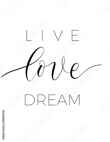 Live love dream  - minimalistic lettering poster vector. Canvas Print