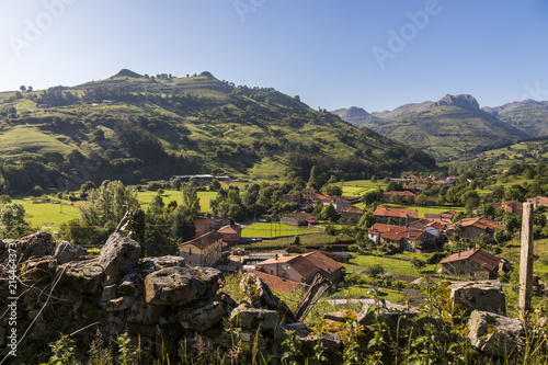Lierganes, Cantabria. Views of the Tetas de Lierganes, a pair of twin mountains overlooking Lierganes, one of the most beautiful towns in Spain