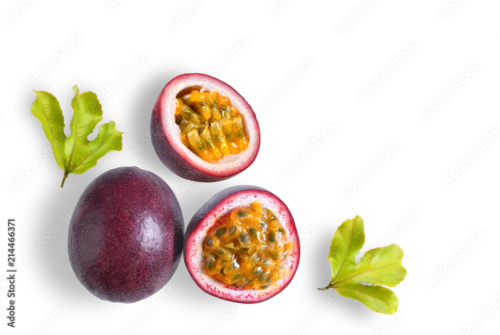 Fototapeta passion fruit with leaf on white background. top view