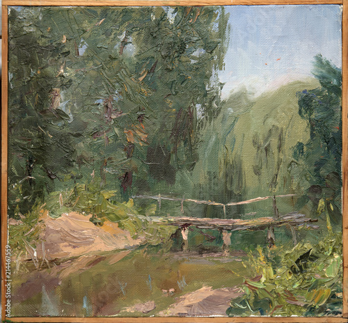 Foto op Aluminium Khaki landscape, oil painting, hand made
