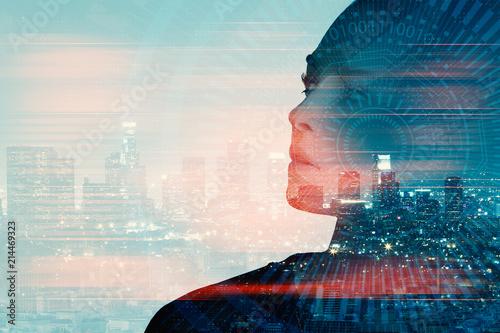 Fotografie, Obraz  Woman with tech pattern