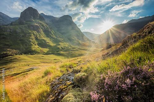 Fotografie, Obraz Valley view below the mountains of Glencoe, Lochaber, HIghlands, Scotland, UK