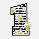 Vintage vector floral Number 1 with grungy chamomile flowers with gold petals on black and white horizontal stripes background. Monochrome grunge numeral one with gerbera bouquet.