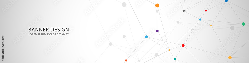 Fototapeta Vector banner design, network connection with lines and dots