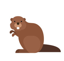 Cute Cartoon Beaver In Flat St...