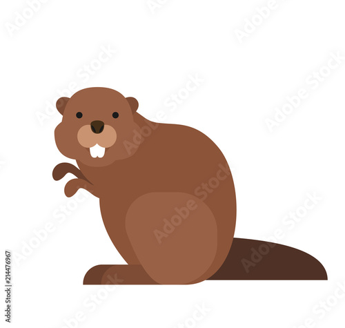 cute cartoon beaver in flat style on white background Wallpaper Mural