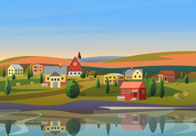 Vector Small Town Landscape Wi...