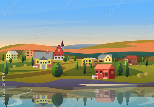 Fotografija Vector Small town landscape with houses on shore of river with hills under blue morning sunsrise sky on background