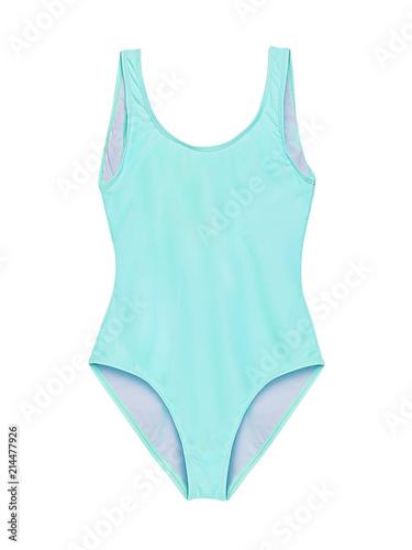 Obraz Pastel light blue one piece swimsuit isolated on white background - fototapety do salonu