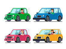Driver In Car. Men And Women Drivers In Cars Looking Out Of Window. Cartoon People Travel In Vehicle Vector Illustration