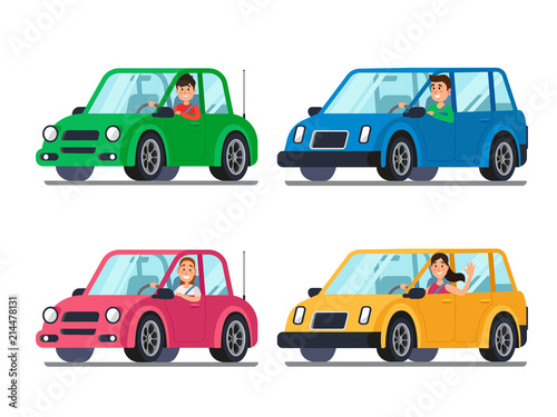Staande foto Cartoon cars Driver in car. Men and women drivers in cars looking out of window. Cartoon people travel in vehicle vector illustration