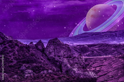 Aluminium Prints Violet rocks on an alien planet