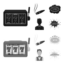A Gaming Machine A One-armed Bandit, A Cigar With Smoke, A Five-star Hotel Sign, A Dilettante In A Vest. Casinos And Gambling Set Collection Icons In Black,monochrom Style Vector Symbol Stock