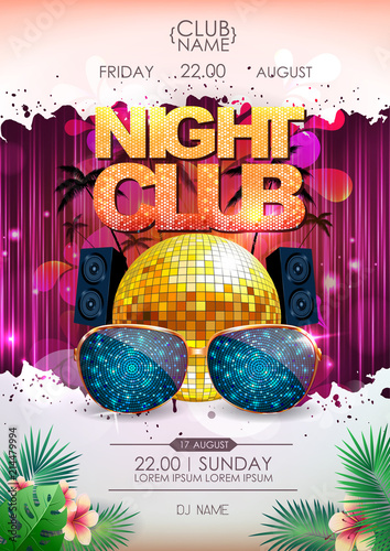 Disco background. Disco ball summer party poster. Night club © annbozhko