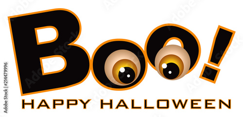 Fototapeta Happy Halloween Boo Eye Balls vector Illustration drawing