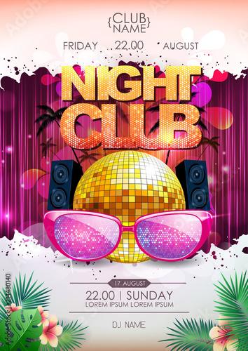 Disco background. Disco ball summer party poster. Night club © annbozhko