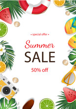 Summer Sale Background With Tr...
