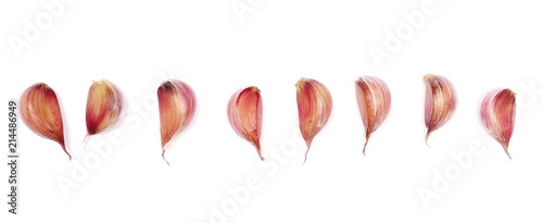 Set garlic isolated on white background, top view