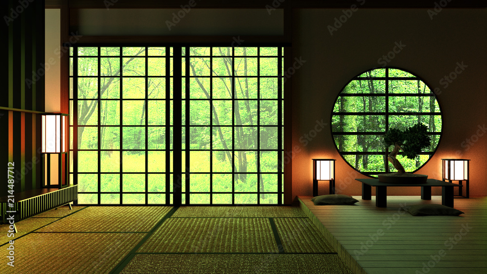 Fototapeta Japan Room Design Japanese-style. 3D rendering