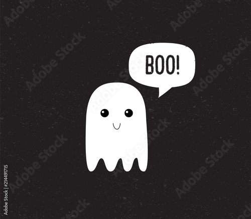 Valokuva Ghost. Cute Halloween ghost with speech bubble. Boo. Vector