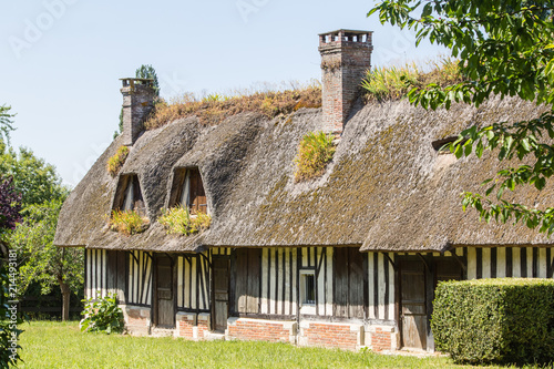 traditional thatched cottages in Normandy