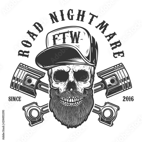 Road nightmare. Hipster skull in baseball cap with crossed pistons. Design element for logo, label, emblem, sign, poster, t shirt.