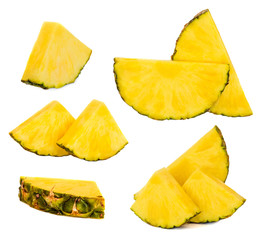 Pineapple fruit collection with fresh slices. Ananas  pieces  isolated on white background. Tropical fruits Set