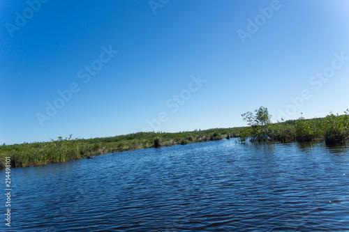 Printed kitchen splashbacks Lake USA, Florida, Airboat ride on everglades natural rivers and mire through landscape