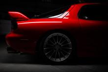 Car Detailing Series: Closeup Of Clean Red Sports Car