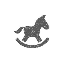 Rocking Horse Toy Icon In Grunge Texture. Vintage Style Vector Illustration.
