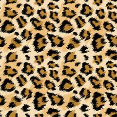 Fototapeta Fashionable Leopard Seamless Pattern. Stylized Spotted Leopard Skin Background for Fashion, Print, Wallpaper, Fabric. Vector illustration