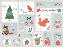 Christmas Set, Hand Drawn Animals And Elements.