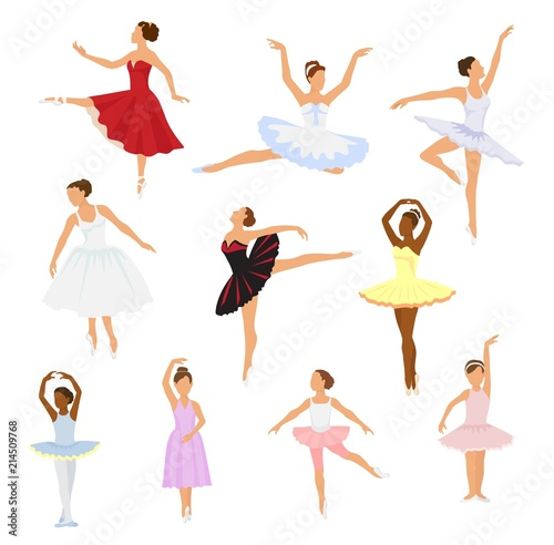 Ballet dancer vector ballerina woman character dancing in ballet-skirt tutu illu Wallpaper Mural