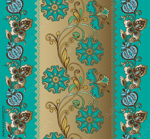 Tapety turkusowe  fantastic-turquoise-floral-ornament-with-paisley-turquoise-and-golden-seamless-oriental-pattern