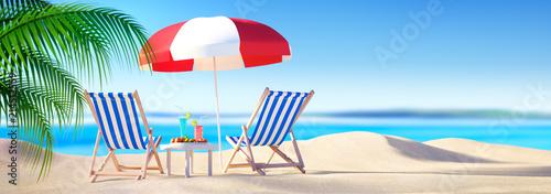 Fotografie, Obraz  Liegestühle mit Cocktails am Strand - Bannerformat 1