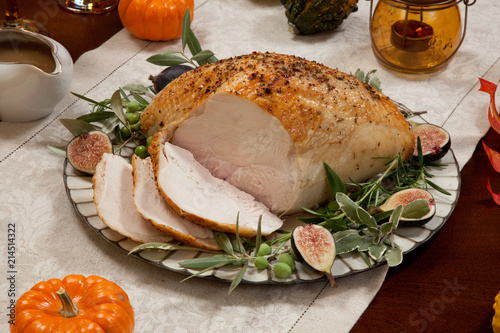 Carving Mediterranean Style Whole Roasted Turkey Breast