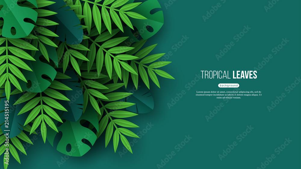 Fototapeta Exotic jungle tropical palm leaves. Summer floral design with green color background. Vector illustration.
