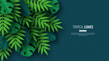 Exotic Jungle Tropical Palm Leaves. Summer Floral Design With Dotted Dark Turquoise Color Background. Vector Illustration.