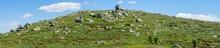 Panorama Sur Le Sommet D'une Colline Couverte De Rochers éparpillés