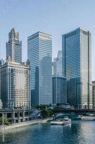 Foto op Plexiglas Chicago Skyscrapers over the Chicago River in Chicago, USA