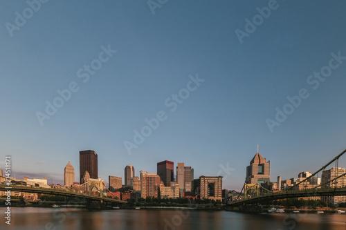 Skyline of Pittsburgh over Allegheny River Wallpaper Mural