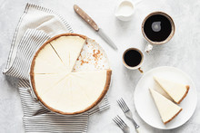 Classical New York Cheesecake And Coffee, Top View