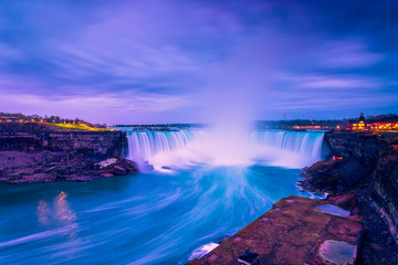 View of Niagara waterfalls during sunrise from Canada side